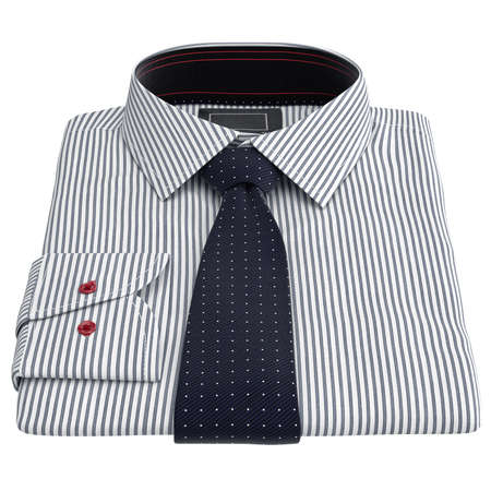 drycleaning: Mens striped shirt. 3D graphic object on white background isolated