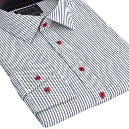 drycleaning: Classic mens shirts folded, zoomed view. 3D graphic object on white background