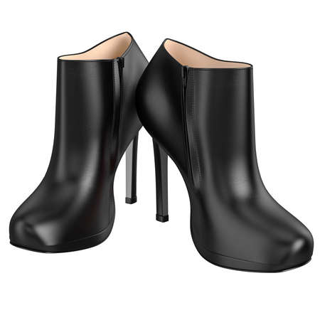 patent leather: Black patent leather boots with zipper. 3D graphic object on white background isolated