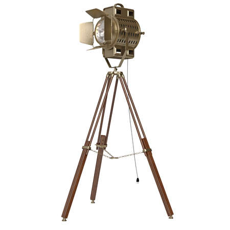 floor lamp: Spotlight floor lamp wooden tripod. 3D graphic object on white background isolated Stock Photo