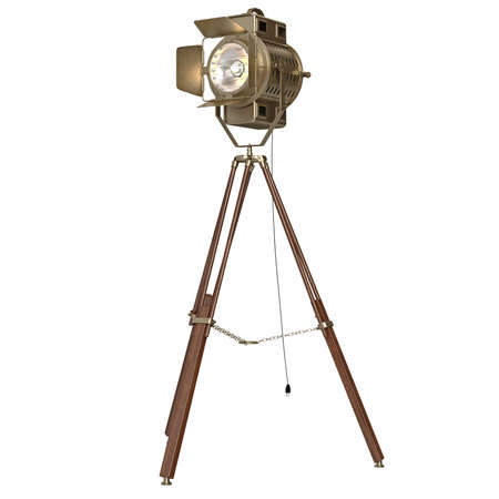 Studio spotlight floor lamp  wooden tripod. 3D graphic object on white background isolated Stock Photo