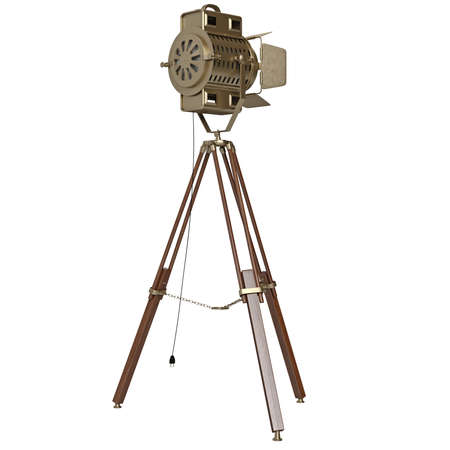 searchlight: Yellow searchlight with tripod. 3D graphic object on white background isolated
