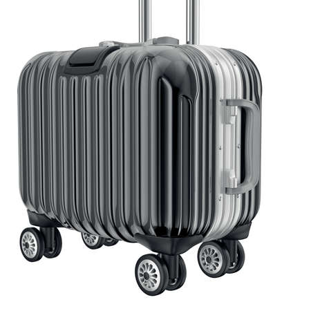 zoomed: Black metal luggage for travel, zoomed view. 3D graphic object on white background