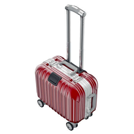 red metallic: Red metallic luggage. 3D graphic object isolated on white background Stock Photo