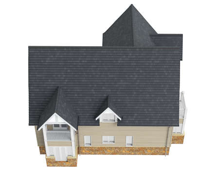 single dwelling: House with dark roof, top view. 3D graphic object isolated on white background Stock Photo