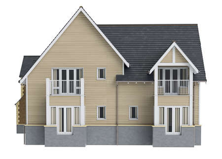 render residence: Country house wooden siding, front view. 3D graphic isolated object on white background Stock Photo