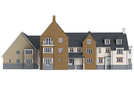 single dwelling: Large two storey villa, front view. 3D graphic isolated object on white background