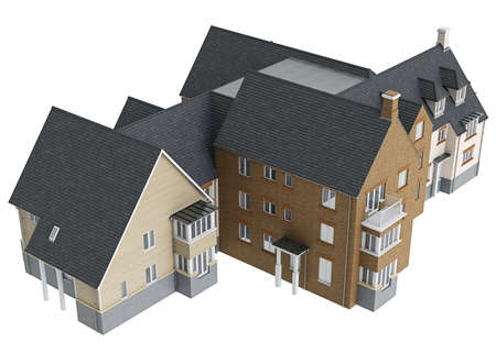 single dwellings: House with tile roof, top view. 3D graphic isolated object on white background