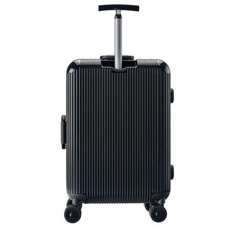 Luggage on wheels black, back view. 3D graphic object isolated on white background Stock fotó