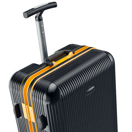 zoomed: Black luggage, zoomed view. 3D graphic object on white background Stock Photo