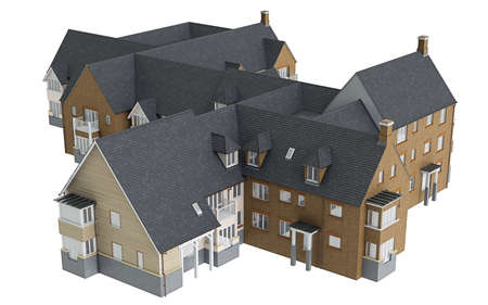 single dwellings: House cottage with tile roof, top view. 3D graphic isolated object on white background