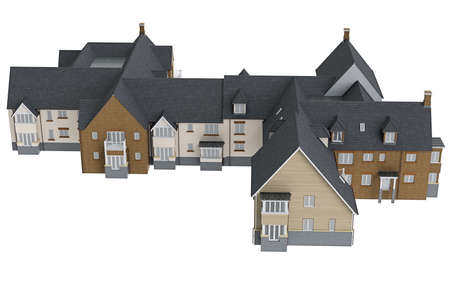 single dwellings: House mansion long, top view. 3D graphic isolated object on white background