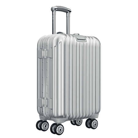 Big silver luggage. 3D graphic object isolated on white background