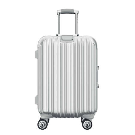 旅行、正面のシルバーのスーツケース。3 D のグラフィック オブジェクトを白い背景に分離 写真素材