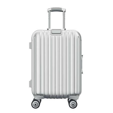 Zilveren koffer voor reizen, vooraanzicht. 3D grafische object op een witte achtergrond