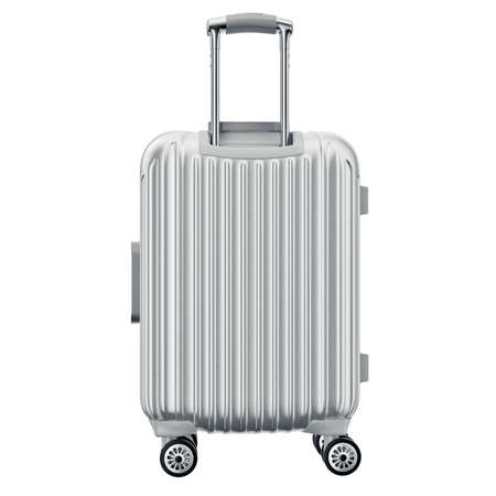 Luggage on wheels silver, back view. 3D graphic object isolated on white background