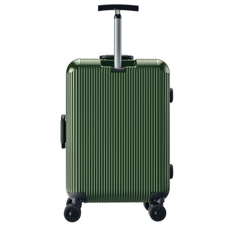 green back: Luggage on wheels green, back view. 3D graphic object isolated on white background