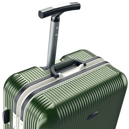zoomed: Luggage on wheels, zoomed view. 3D graphic object on white background