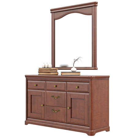 arredamento classico: Dresser with mirror. 3D graphic isolated object on white background