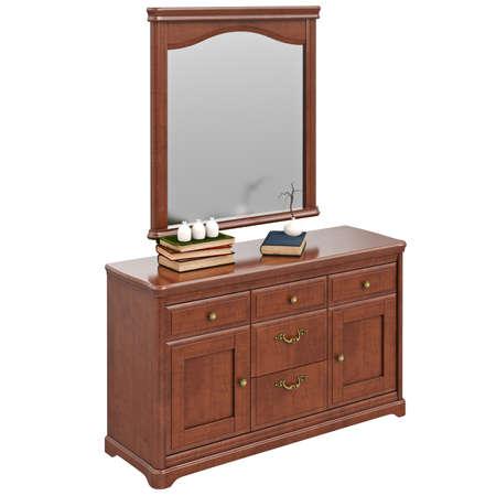 arredamento classico: comò in legno con specchio. 3D oggetto isolato grafica su sfondo bianco