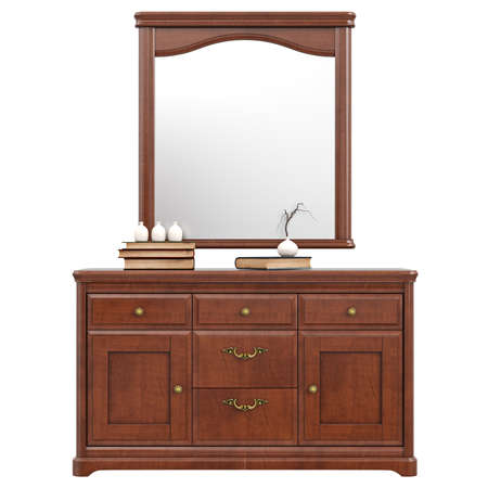 dresser: Large dresser with mirror, front view. 3D graphic isolated object on white background Stock Photo