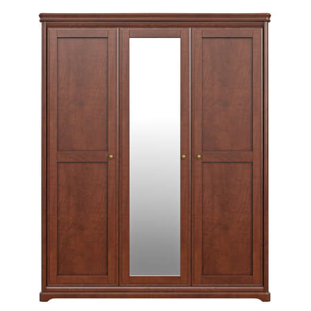 highboy: Cabinet wardrobe, front view. 3D graphic isolated object on white background Stock Photo