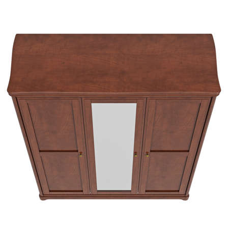 highboy: Cabinet with doors closed, top view. 3D graphic isolated object on white background