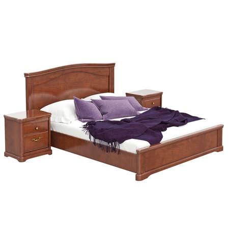 arredamento classico: Grande letto matrimoniale. 3D oggetto isolato grafica su sfondo bianco Archivio Fotografico