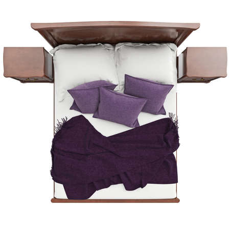 arredamento classico: Bed with pillows and blanket cover, top view. 3D graphic isolated object on white background