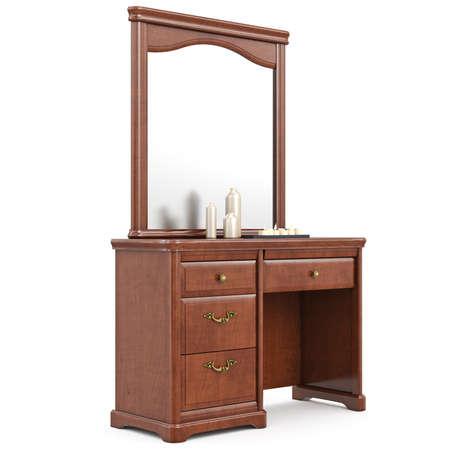 arredamento classico: credenza moderna con specchio. 3D oggetto isolato grafica su sfondo bianco