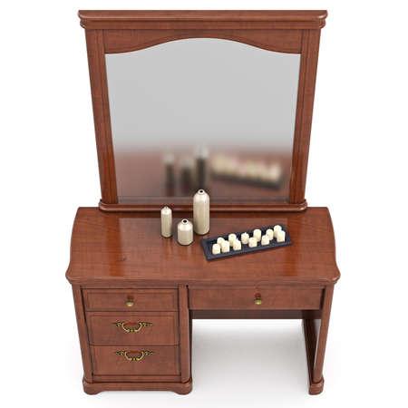 arredamento classico: Com� in stile classico con specchio, vista dall'alto. 3D oggetto isolato grafica su sfondo bianco