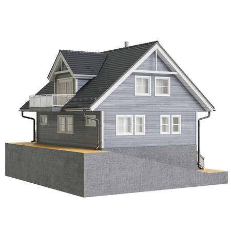 single dwellings: Country house high roof. 3D graphic isolated object on white background Stock Photo