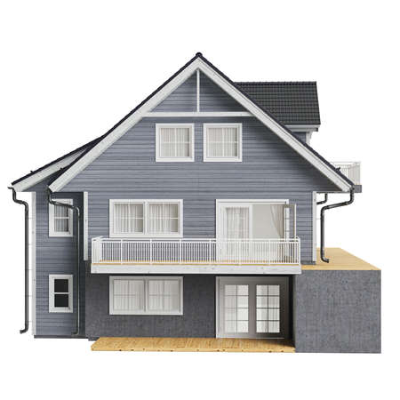Country house wood siding, front view. 3D graphic isolated object on white background