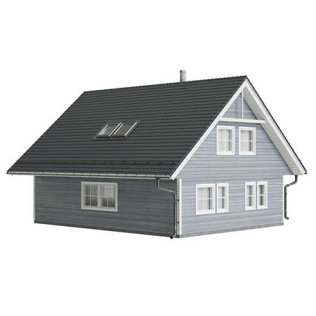 single dwellings: House cottage small. 3D graphic isolated object on white background