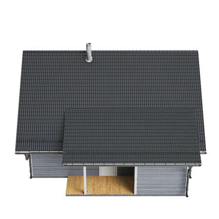 single dwellings: House high roof, top view. 3D graphic isolated object on white background Stock Photo