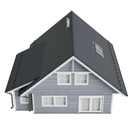 single dwelling: House villa with tile roof, top view. 3D graphic isolated object on white background