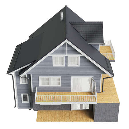 single dwelling: House with tile roof, top view. 3D graphic isolated object on white background