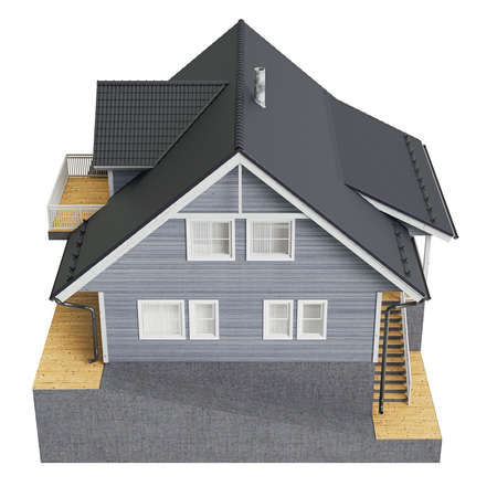 single dwellings: House cottage, top view. 3D graphic isolated object on white background