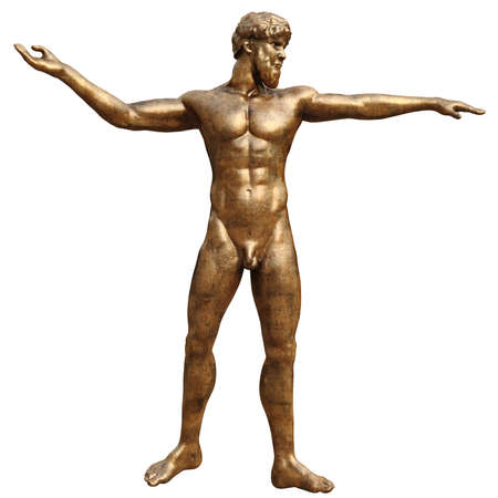 man front view: Bronze statue man, front view. 3D graphic isolated object on white background Stock Photo