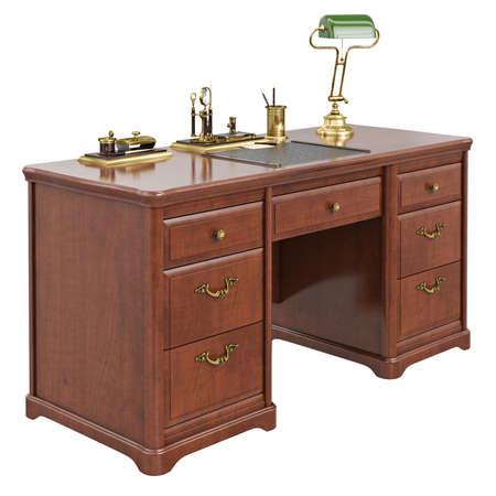 arredamento classico: Wooden office desk. 3D graphic isolated object on white background Archivio Fotografico