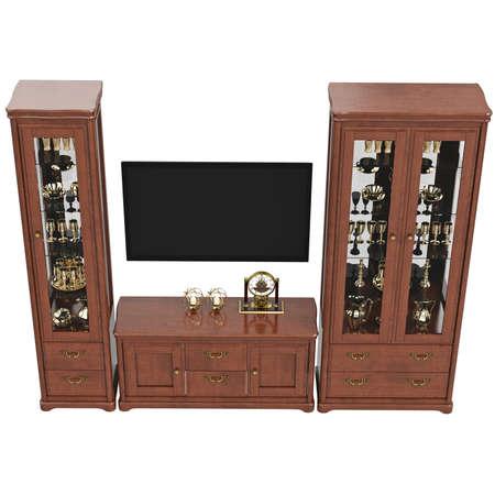 arredamento classico: Credenze con TV e com�, vista superiore. 3D oggetto isolato grafica su sfondo bianco