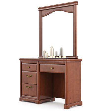 arredamento classico: Credenza in legno con specchio. 3D oggetto isolato grafica su sfondo bianco