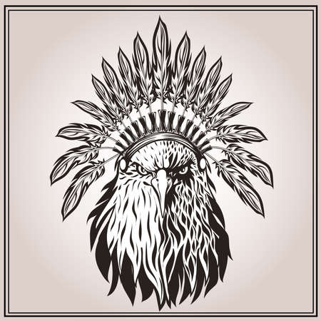 American Eagle in ethnic Indian headdress with feathers. In graphic stencil style. Totem animal. Vector illustration Illustration