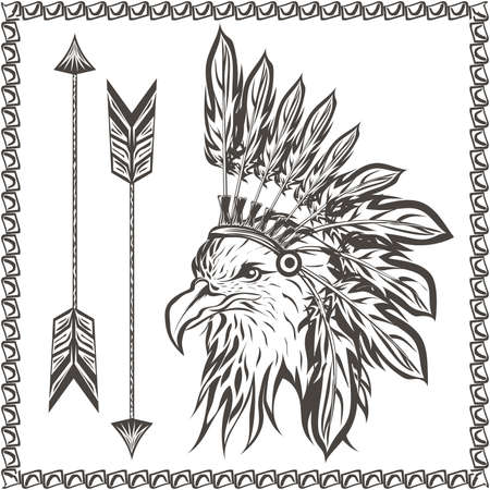 indian headdress: American Eagle in ethnic Indian headdress with feathers and arrows. In graphic stencil style. Totem animal. Vector illustration Illustration