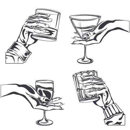 la celebración de vidrio masculina y femenina de la mano beber whisky alcohol, vino, vermut, ginebra. elemento de diseño dibujado a mano. el estilo de grabado. ilustración vectorial aislado