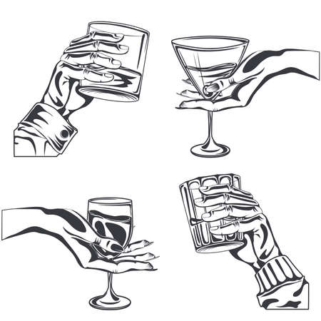 Male and Female hand holding glass alcohol drink whiskey, wine, vermouth, gin. Hand-drawn design element. Engraving style. Isolated vector illustration