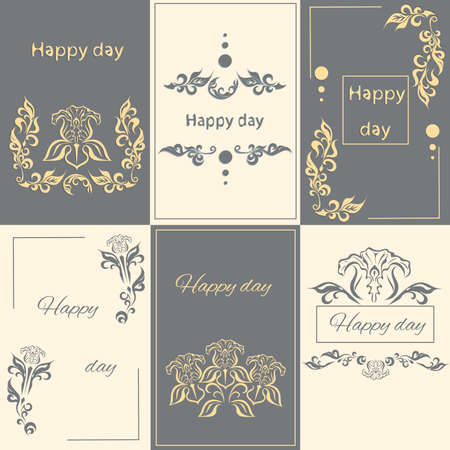 used ornament: Set floral ornament greeting card arabesque style. It can be used for printing design. Vector illustration
