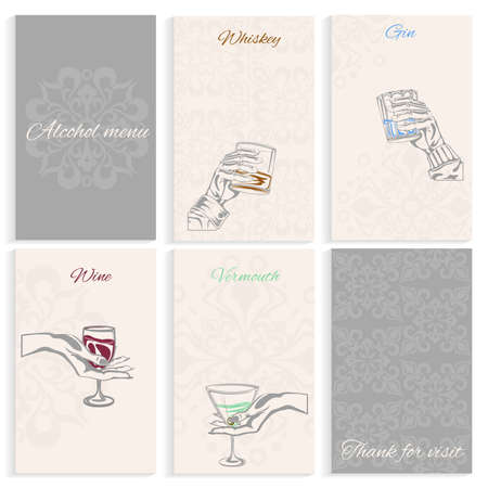 vermouth: Set pages for alcohol menu on light background man and womans hand holding glass whiskey, wine, vermouth, gin. Hand-drawn design element. Engraving style. Vector illustration