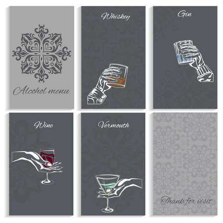 Set  pages for alcohol menu on darck background man and womans hand holding  glass  whiskey, wine, vermouth, gin. Hand-drawn design element. Engraving style. Vector illustration