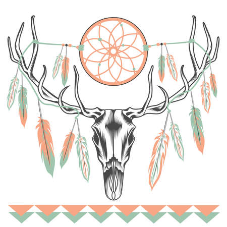 deer skull: Ethnic deer skull with big antlers hanging feathers and Dreamcatcher. Graphic style. Vector illustration Illustration
